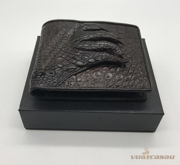 Bóp bàn tay cá sấu thật màu nâu đen - 4