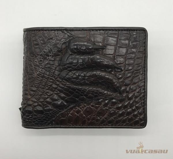 Bóp bàn tay cá sấu thật màu nâu đen - 2