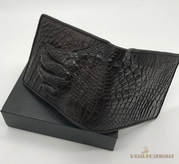 Bóp bàn tay cá sấu thật màu nâu đen - 1
