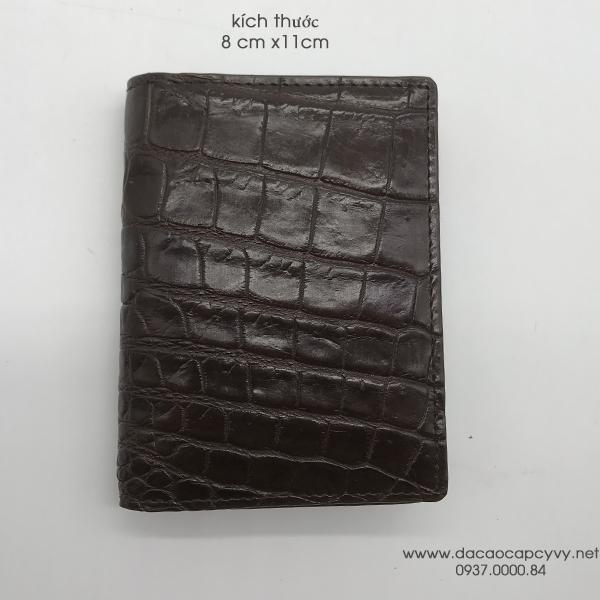 ví da cá sấu đựng card màu nâu - 4