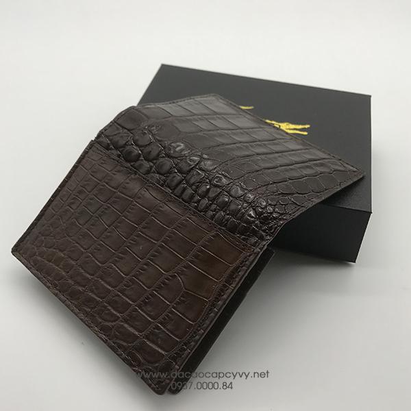 ví da cá sấu đựng card màu nâu - 2