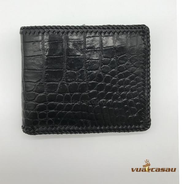 Ví da cá sấu đan viền màu đen - 6
