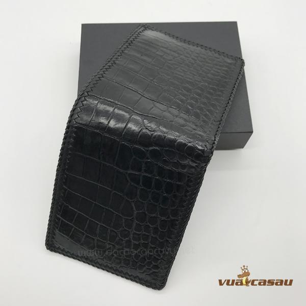 Ví da cá sấu đan viền màu đen - 7