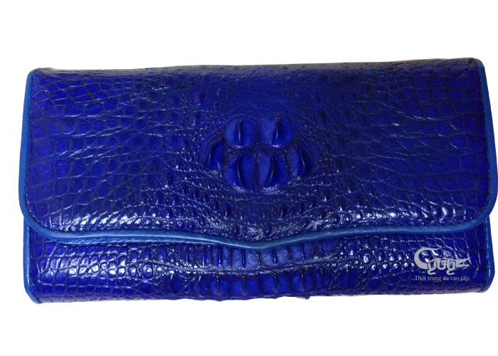 Ví da cá sấu gấp 3 màu xanh